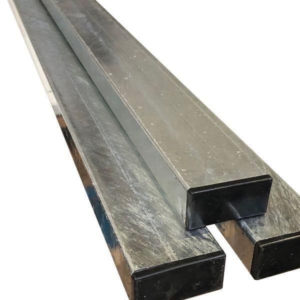 Poteau rectangulaire en acier galvanisé 80x40 mm acier - hauteur:3,50 m