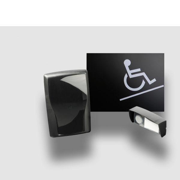 Carillon d'appel pour rampe d'accès mobile en relief noir - sans braille (photo)