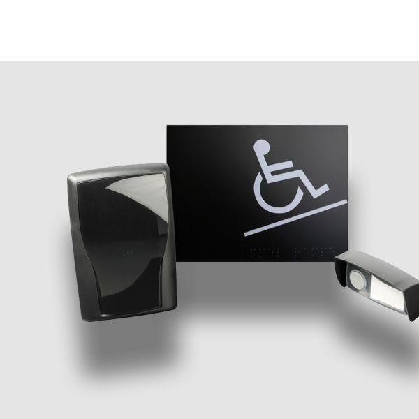 Carillon d'appel pour rampe d'accès mobile en relief noir - avec braille (photo)