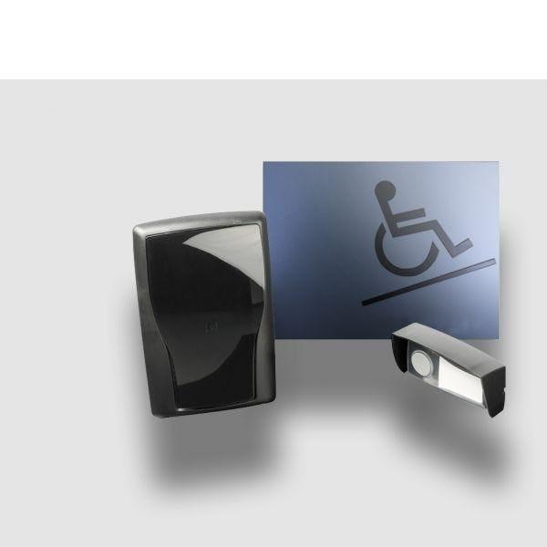 Carillon d'appel pour rampe d'accès mobile en relief gris - sans braille (photo)