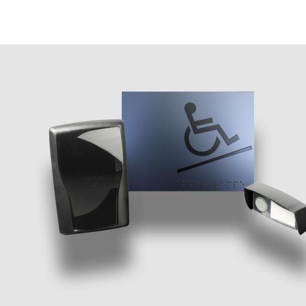 Carillon d'appel pour rampe d'accès mobile en relief gris - avec braille (photo)