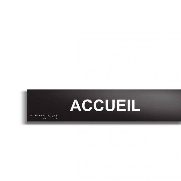 Accueil plaque de porte en braille et relief plaque noire (photo)