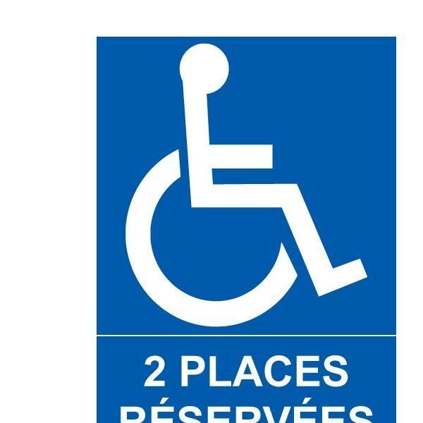 Panneau parking 2 places réservées + picto handicapé pvc - 150x210 mm