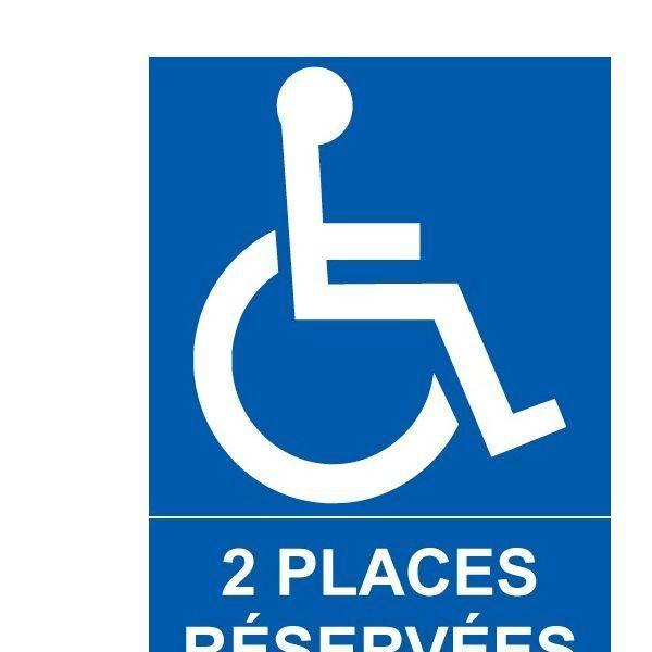 Panneau parking 2 places réservées + picto handicapé pvc - 300x420 mm