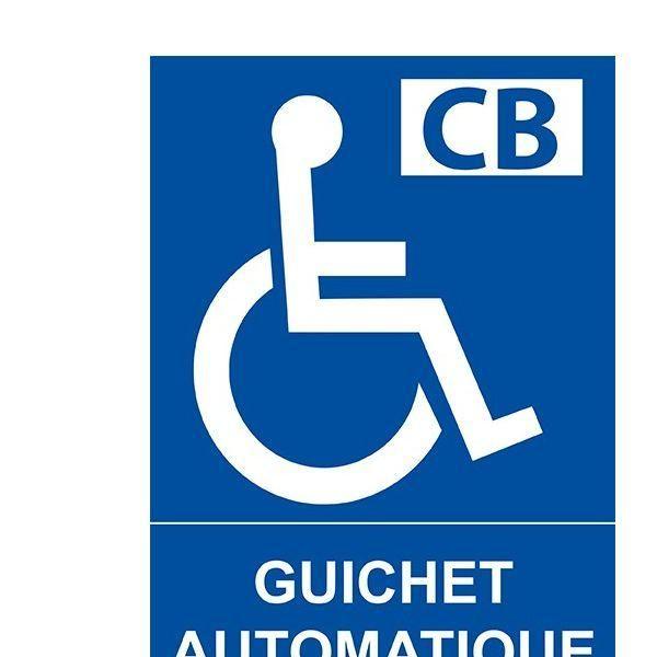 Panneau guichet automatique pour personnes handicapées et pmr pvc - 150x210 mm