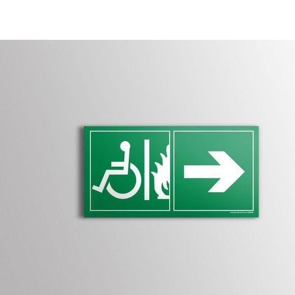 Panneau évacuation pour handicapé sortie de secours droite pvc - 300x150 mm