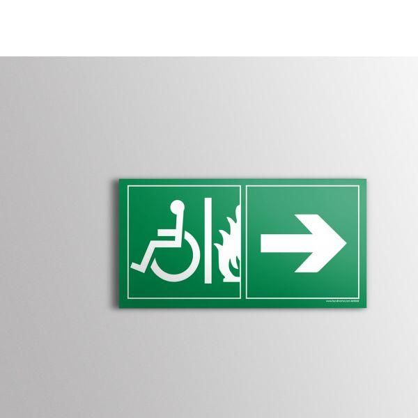 Panneau évacuation pour handicapé sortie de secours droite pvc - 400x200 mm