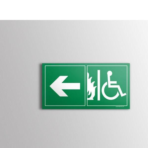 Panneau évacuation pour handicapé sortie de secours gauche pvc - 150x300 mm