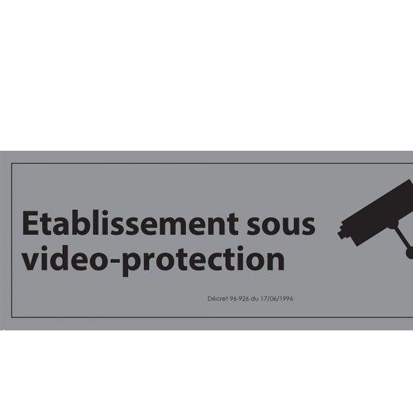 Signalisation d'information etablissement sous vidéo-protection pvc fond:gris