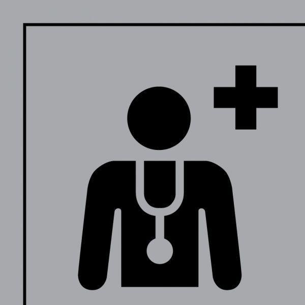 Picto 044 centre médical ou médecin en pvc 125x125mm- noir