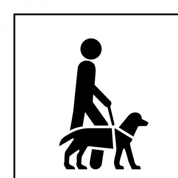 Picto 046 accessibilité, chien de guide ou d'assistance en pvc noir 125x125mm