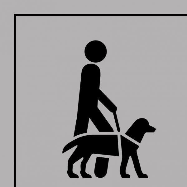Picto 046 accessibilité, chien de guide ou d'assistance en pvc 250x250mm- noir