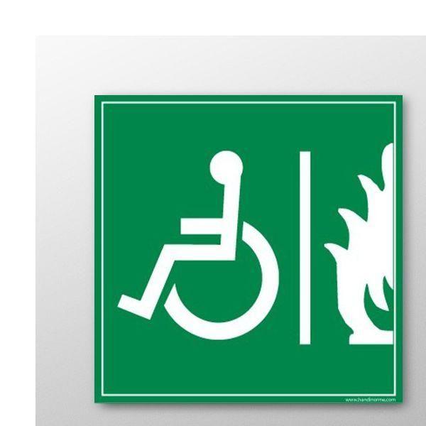 Panneau handicapé espace d'attente sécurisé 125x125mm- autocollant