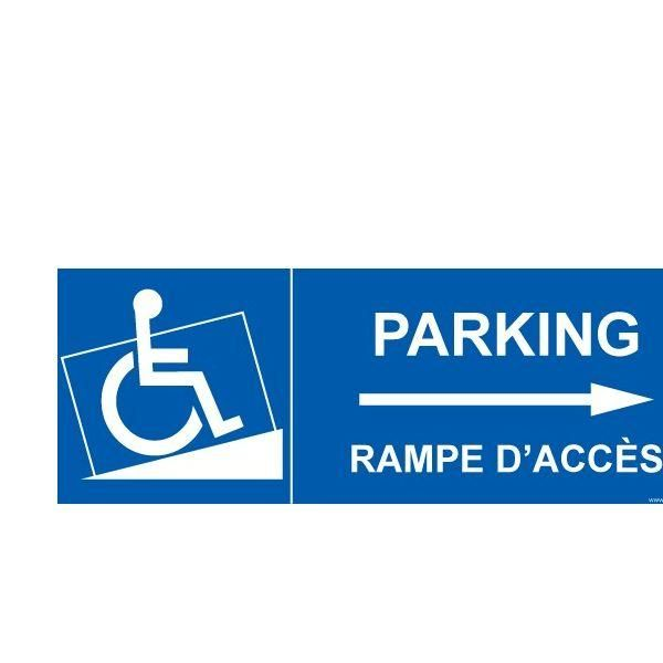 Panneau handicapé  parking, rampe accès flèche droite autocollant - 210x75mm (photo)