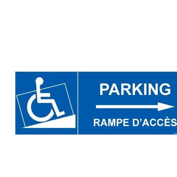 Panneau handicapé  parking, rampe accès flèche droite autocollant - 350x125mm (photo)