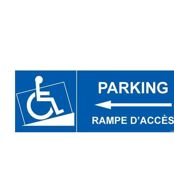 Panneau handicapé  parking, rampe accès flèche gauche autocollant - 210x75mm (photo)