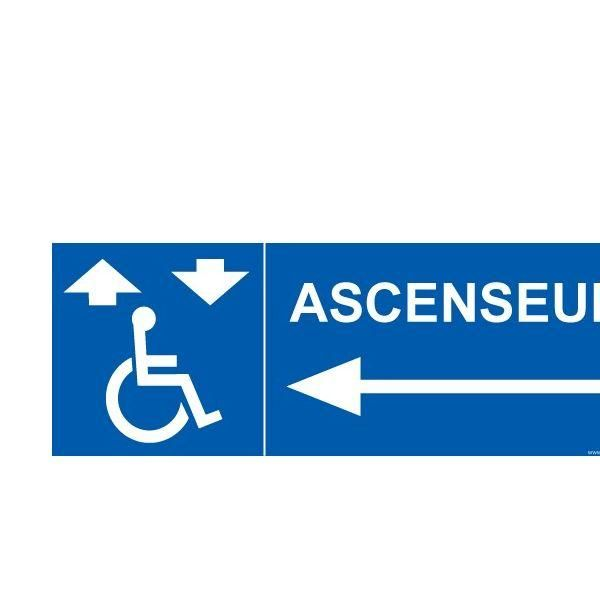 Signalisation handicapé ascenseur flèche gauche autocollant - 350x125mm