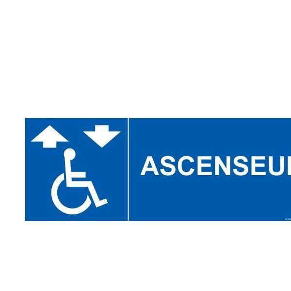 Signalisation ascenseur + picto handicapé autocollant - 350x125mm
