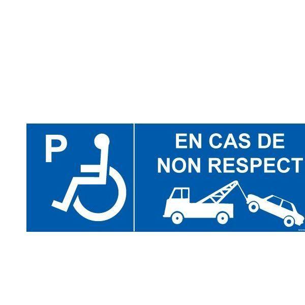 Signalisation p handicapé en cas de non respect autocollant - 210x75mm