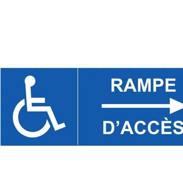 Signalisation handicapé rampe d'accès flèche droite autocollant - 350x125mm