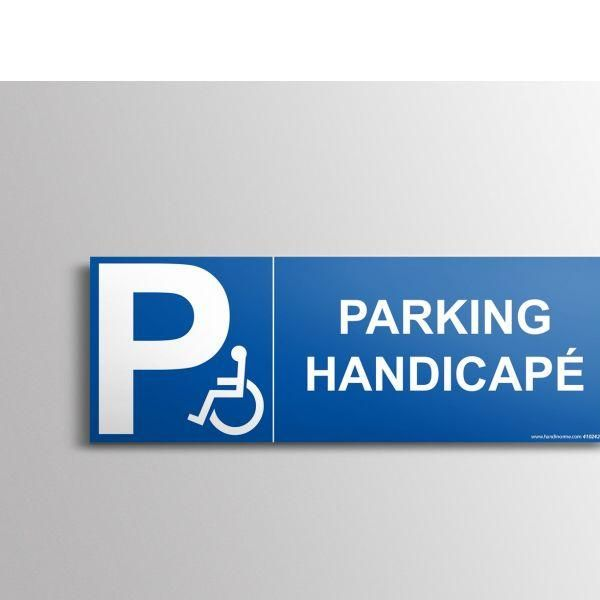 Signalisation parking handicapé + picto handicapé autocollant - 210x75mm