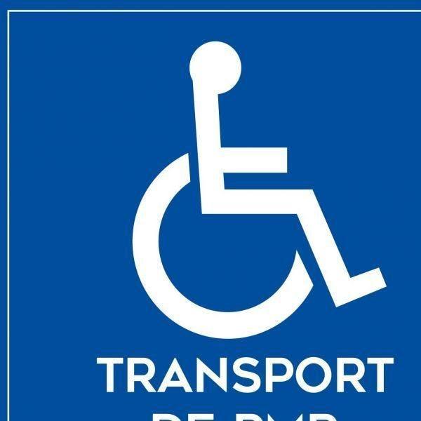 Adhésif sur la face pour véhiculetransport de personnes handicapés + picto (photo)