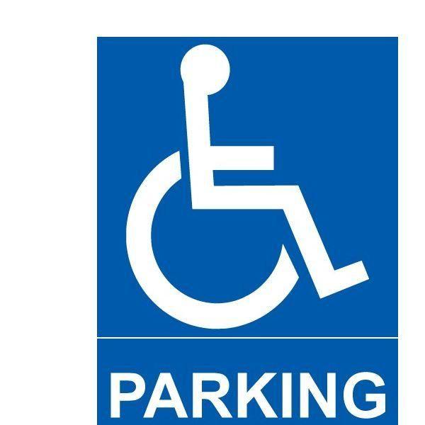 Panneau parking + pictogramme handicapé autocollant - 150x210 mm