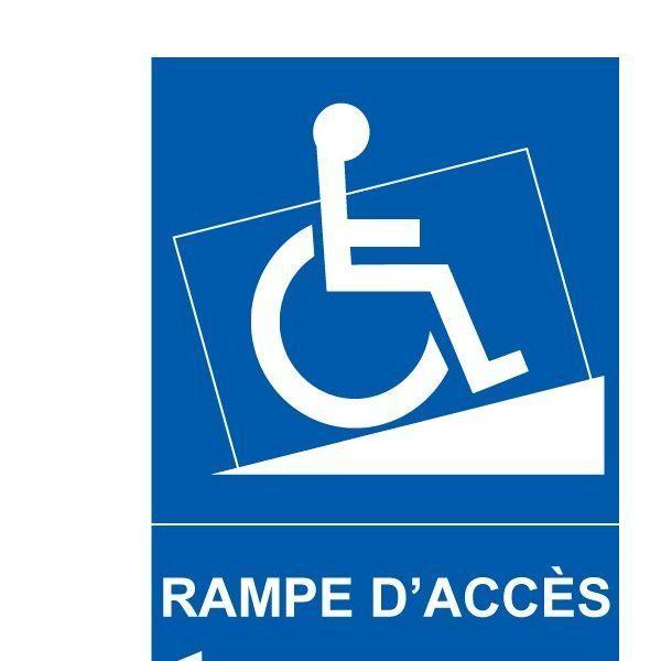 Panneau handicapé rampe accès flèche gauche autocollant - 300x420 mm (photo)