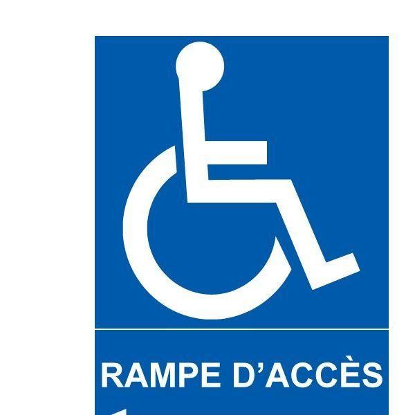 Panneau direction gauche rampe d'accès +picto handicapé autocollant 150x210mm (photo)
