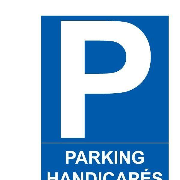 Panneau  parking handicapés autocollant - 150x210 mm (photo)