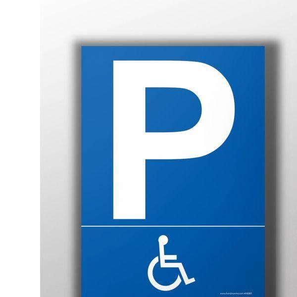 Panneau parking pictogramme handicapé autocollant - 450x630 mm