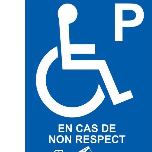 Panneau handicapé enlèvement en cas de non respect autocollant - 450x630 mm (photo)