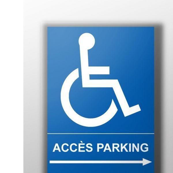 Panneau accès parking picto handicapé flèche droite - autocollant - 300x420 mm (photo)