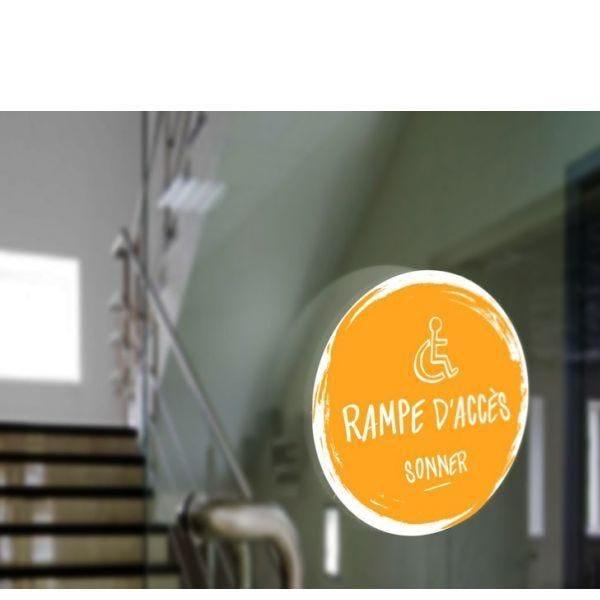 Adhésif design pour sonnette d'appel rampe d'accès - jaune (photo)