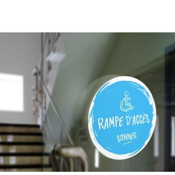 Adhésif design pour carillon d'appel rampe d'accès - bleu (photo)
