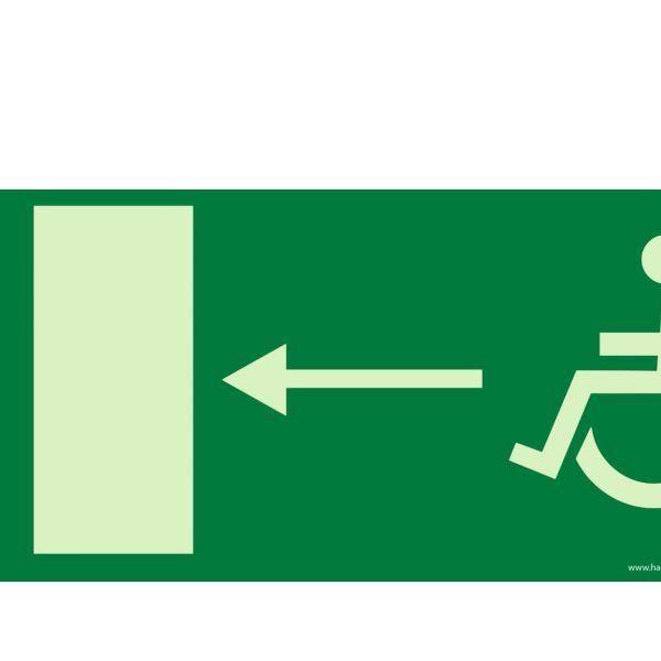 Accès secours gauche photoluminescent + picto handicapé autocollant - 400x200 mm (photo)