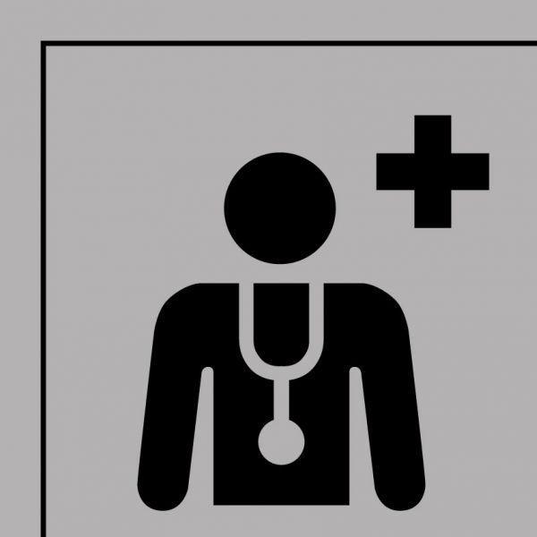 Picto 044 centre médical ou médecin autocollant 125x125mm- noir