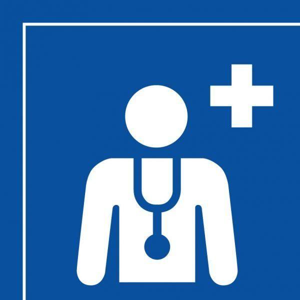 Picto 044 centre médical ou médecin autocollant 125x125mm- blanc