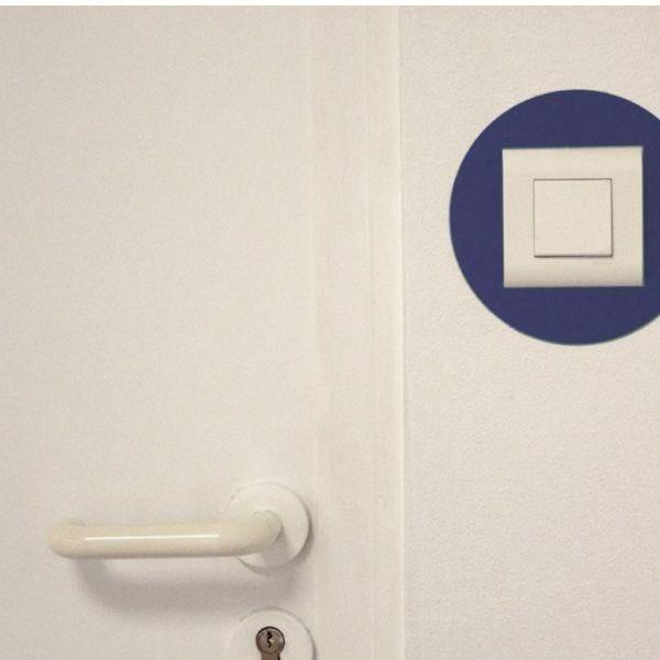 Adhésif rond de repérage des prises de courant bleu (photo)