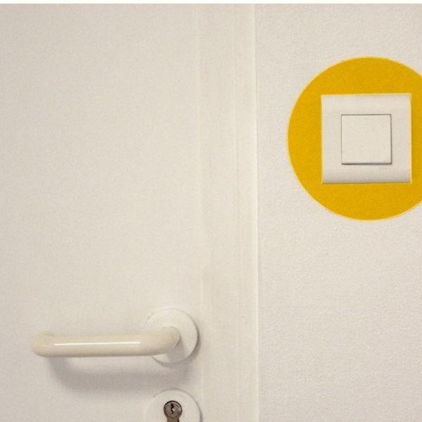 Adhésif rond de repérage des prises de courant jaune (photo)
