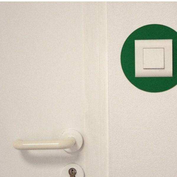 Adhésif rond de repérage des prises de courant vert (photo)