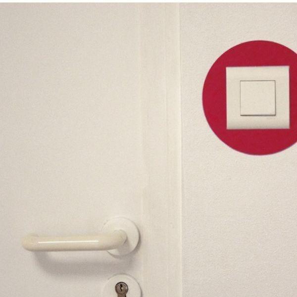 Adhésif rond de repérage des prises de courant rouge (photo)