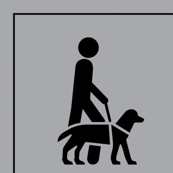 Picto 046 accessibilité, chien guide ou d'assistance gravoply 250x250mm- noir