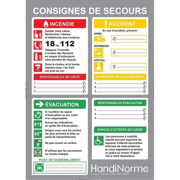 Poster consignes de secours