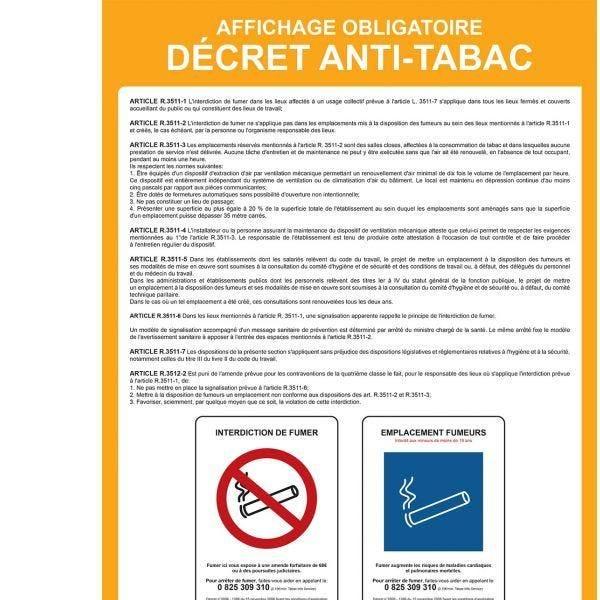 Poster affichage'' décret anti-tabac''