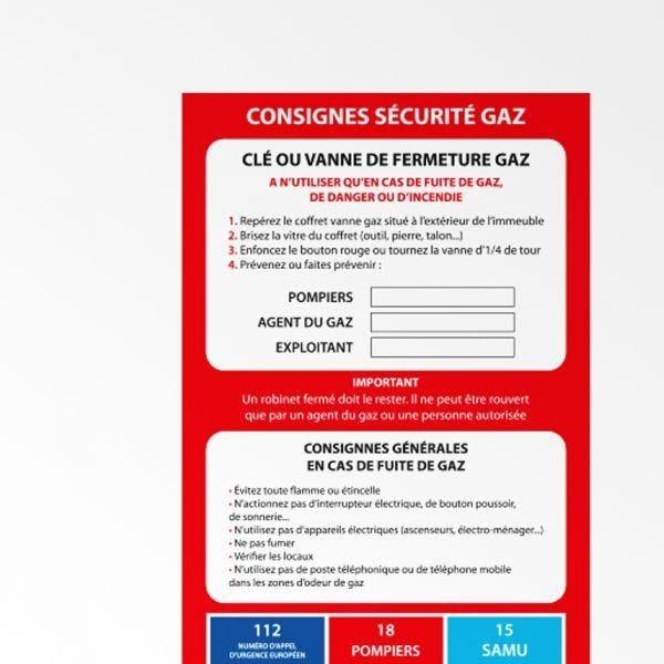 Poster consignes de securite gaz