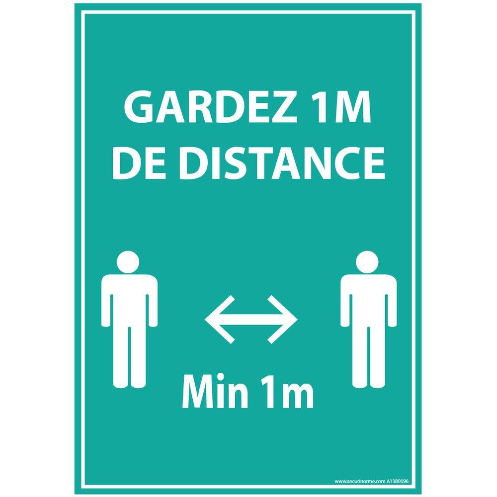 Autocollant Gardez 1m de distance bleu vinyle A4