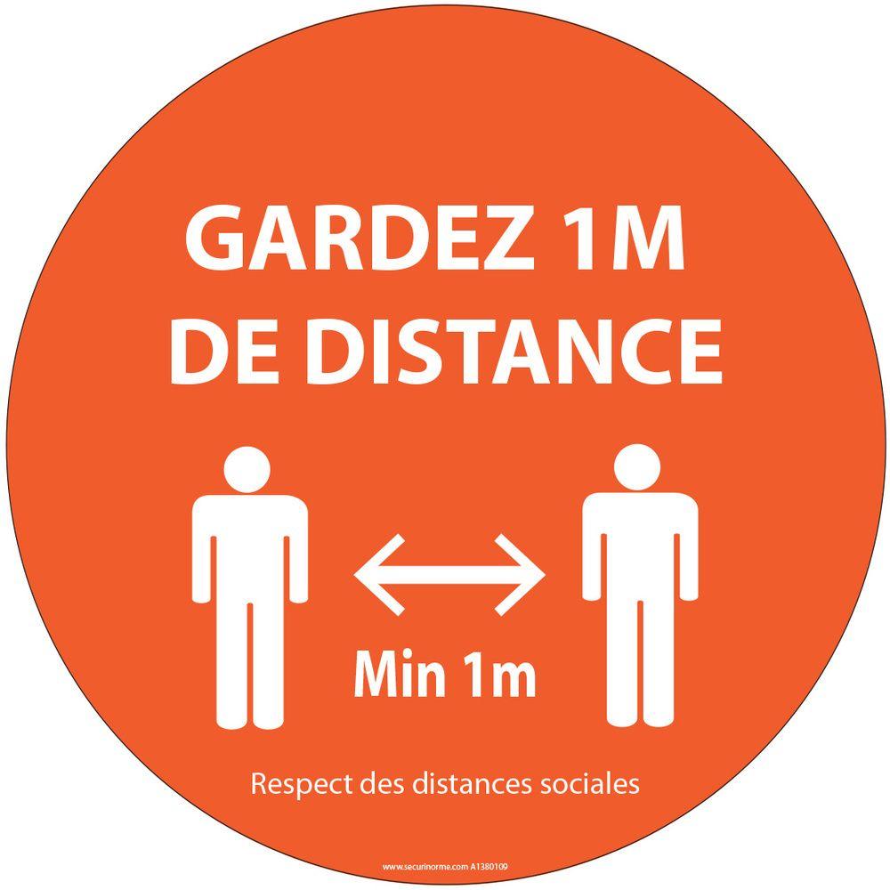 Autocollant Gardez 1m de distance orange vinyle Diam:100mm