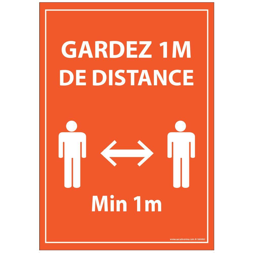 Panneau Gardez 1m de distance orange PVC dos adhesif A5