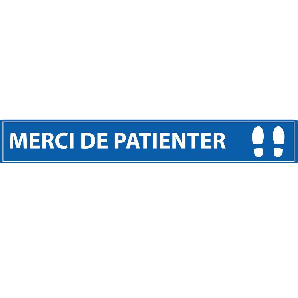 Merci de patienter 700*100 bleu - adhésif de marquage au sol